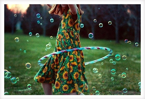 bright, bubbles, child, frivolity, girl, hula hoop, polaroid, sunflowers