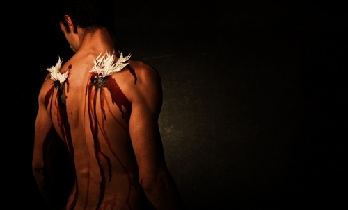 angel, bleeding, blood, broken angel, broken wings, fallen angel