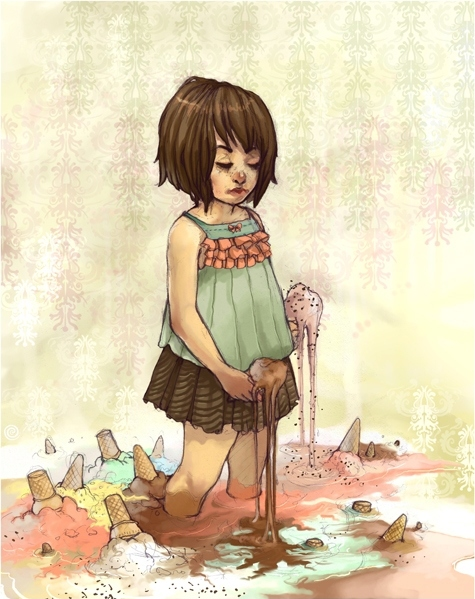 cute, drawing, girl, ice cream, illustration, sand