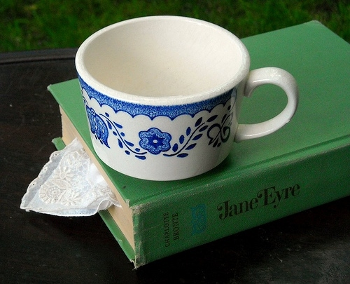 book, books, bronte, classics, jane eyre, literature, tea, teacup