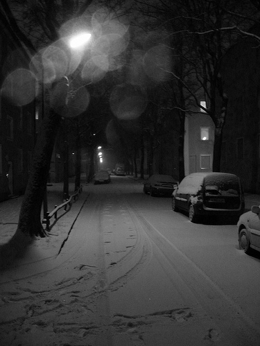 black and white, cold, light, photography, snow, street