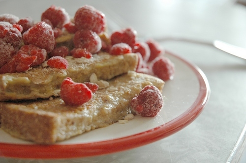 breakfast, food, french toast, raspberries, sugar