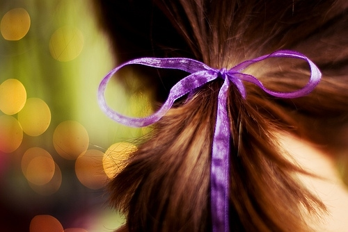 bokeh, bow, capelli, hair, lavender, luci, purple, ribbon