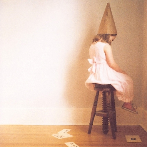 alone, child, corner, donkie, dunce cap, girl, jenifer altman, loneliness, polaroid, stool, x007