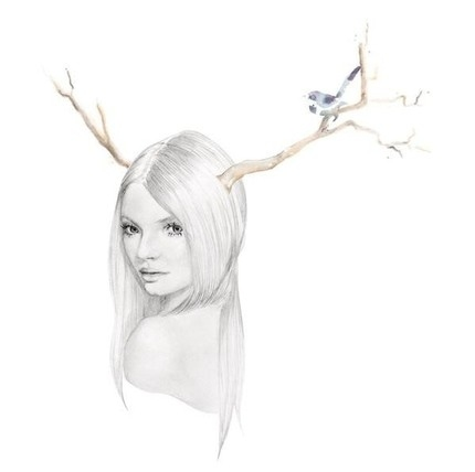 antlers, art, bird, girl, illustration, kelly smith, model, print