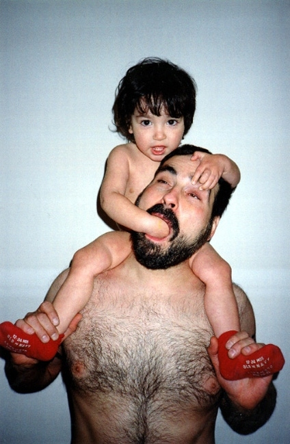 bear, black hair, child, dad, funny, hairy