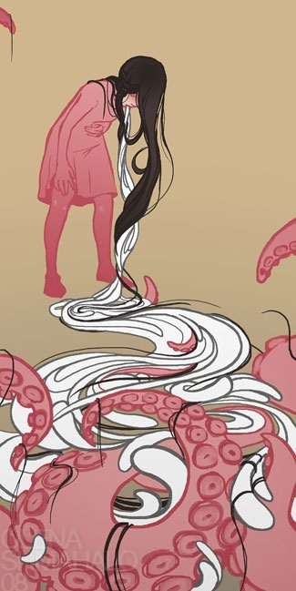 cephalopods, girl, illustration, octopus, pink, swirls