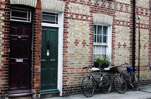 bicycle, brick, building, door, england, exterior