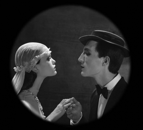 black and white, buster keaton, couple, editorial, eugenio recuenco, fashion