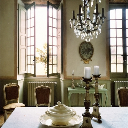 brocante, casement window, chairs, chandelier, chateau, decor, dining room, dining table, french country style, interior, interior design, louis xiv, table, windows