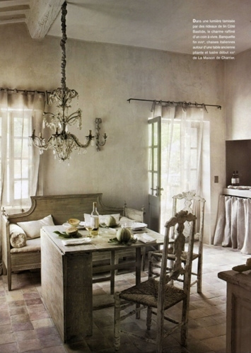 bench, chairs, chandelier, curtains, cushions, doorway