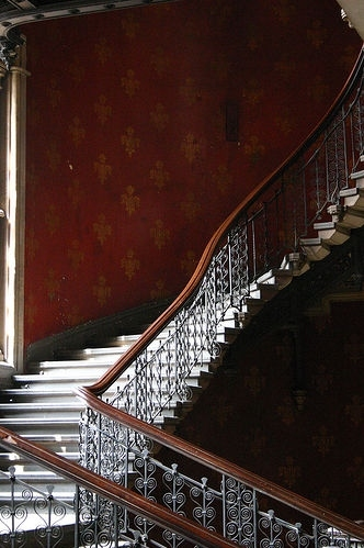 bannister, damask, interior, railing, red, staircase, stairs, steps, wall, wallpaper