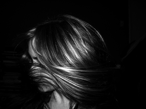 black and white, chandler, girl, hair, movement, photo