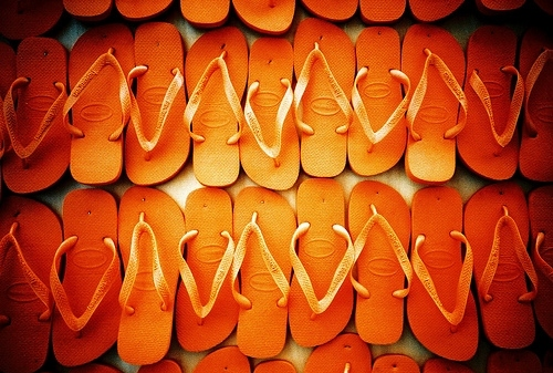flip flops, havaianas, orange, repitition, shoe, shoes