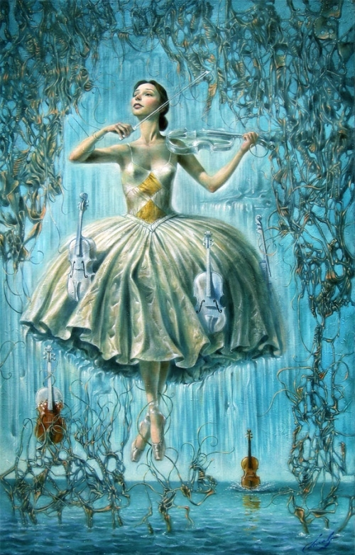 ballerina, blue, girl, violin, water