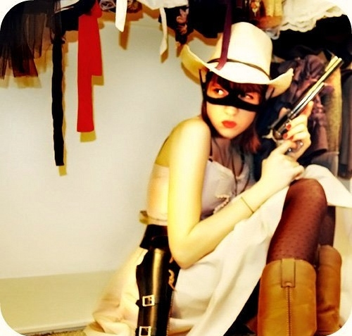 cowboy, diy, girl, gun, mask, masks