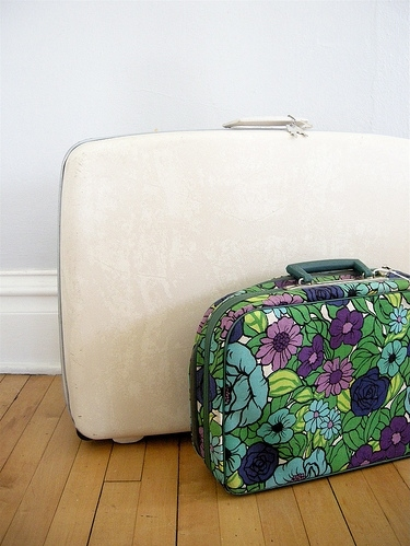 bright, floral, flower, flowers, retro, suitcase