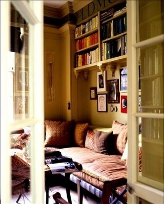 alcove, books, bookshelves, cushions, decor, doors