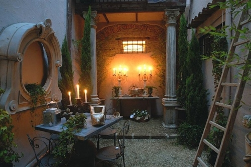 candlelight, garden, houses, ladder, outdoors, table