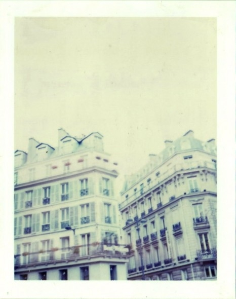 apartments, architecture, blue, buildings, pale, paris, polanoid, polaroid, vintage