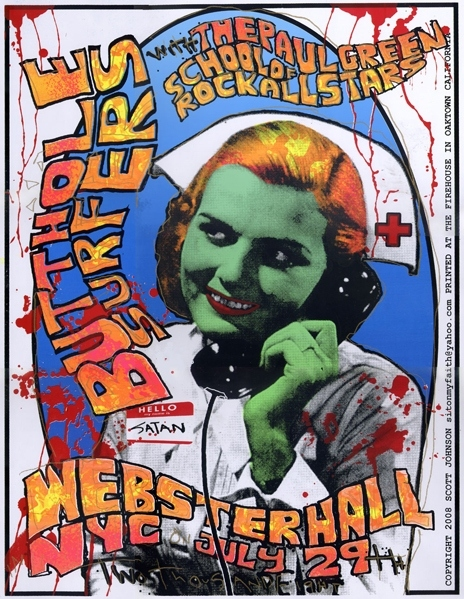 blood, butthole surfers, concert, covers or posters, gig, nurse, poster, satan