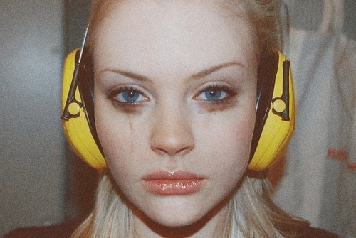 blonde, blue eyes, face, girl, headphones, makeup
