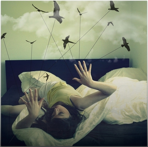bed, birds, clouds, dreamy, fingers, girl