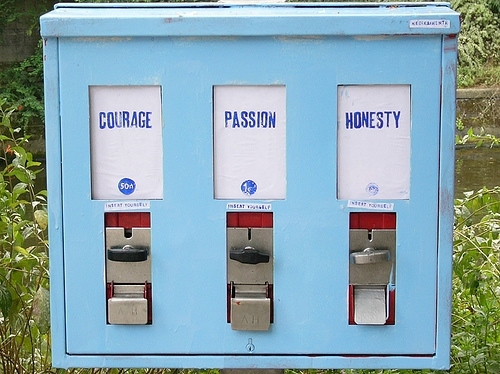 courage, feelings, honesty, passion, selling machine