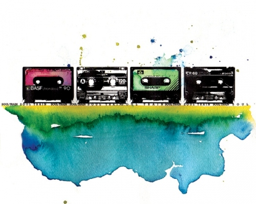 cassette taoes, color, illustration, music, soul train, tape