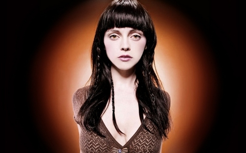 bangs, braids, brown, brunette, celeb, celebrity, christina ricci, circular, eyes, glow, orange