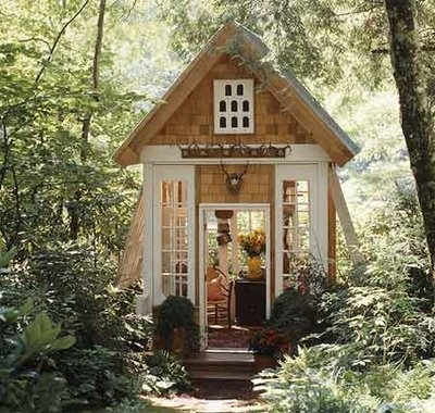 cabin, dwelling, garden, greenery, hideaway, room
