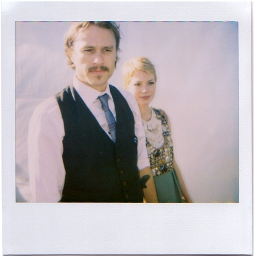 celebrities polaroid, couples, heath ledger, heath ledger polaroid, michelle williams, polaroid, sweet