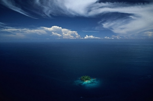 aerial photo, clouds, desert island, island, islet, philippines