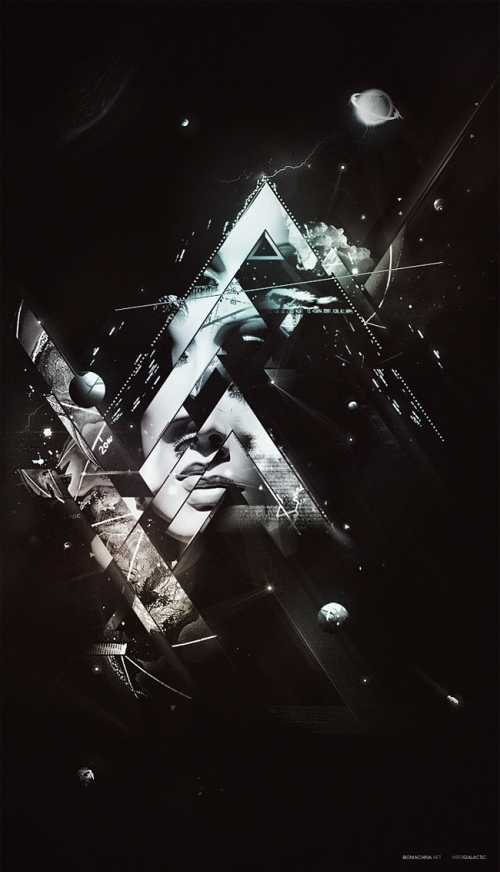 black and white, dark background, illustration, planets, shapes, space, triangle