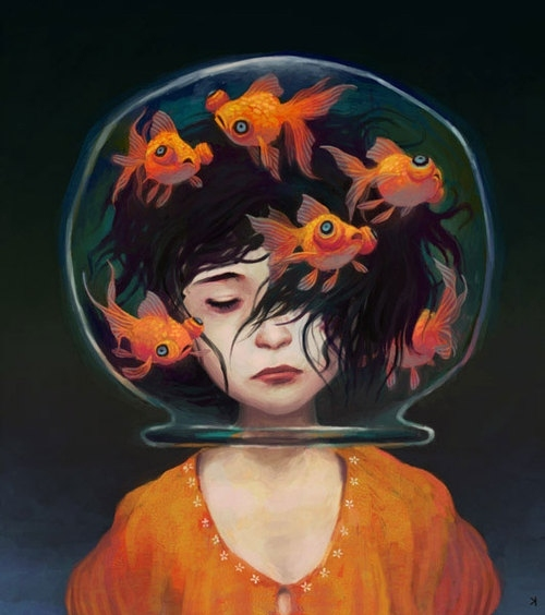fish, girl, goldfish, illustration, painting