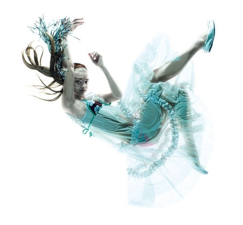 art, blue, fairy, falling, fashion, floating