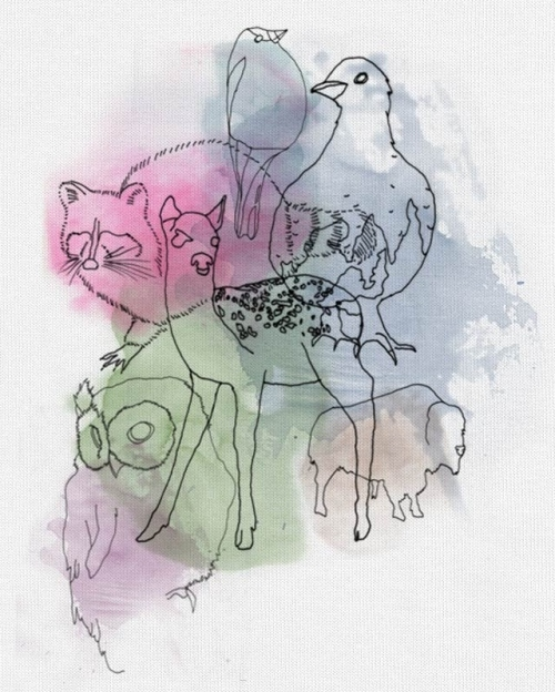animal, clothing, color, colour, drawing, erin gilkes, ink, line, nick tassone, print, threadless, watercolor, watercolour