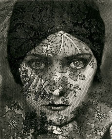 1920s, black and white, closeup, edward steichen, eyes, face, gloria swanson, lace, photography, portrait, turban, veil