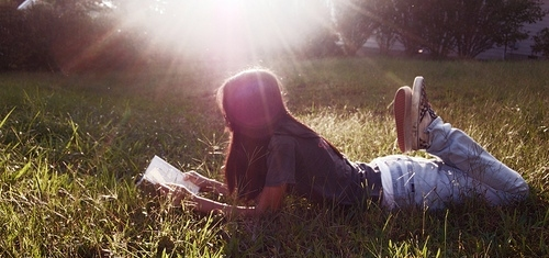 girl, grass, place, reading, sunlight