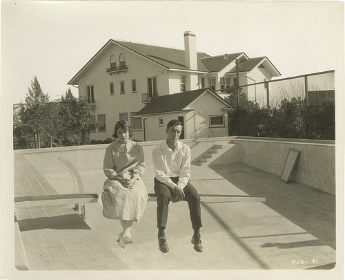 buster keaton, empty, irony, photography, pool, swimming pool, viola dana
