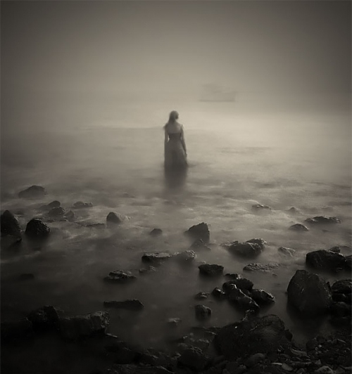 fog, ghostly, girl, rocks, sea, secret twin