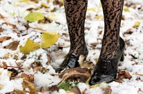 autumn, derbies, fashion, lace, leaves, shoes, snow, socks or leggings, winter