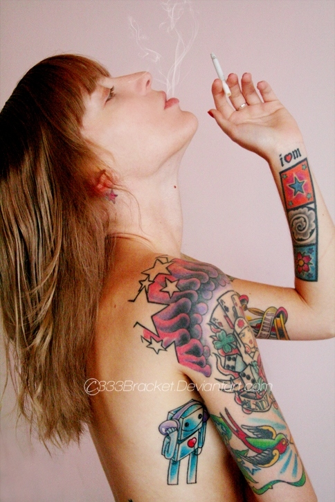 cigar, girl, smokeme, tatoo, tattoos, tattoos dragon