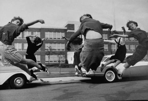 1950s, high school, jump, jumping, monochrome, photography