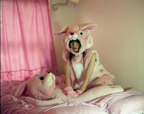 animal costume, animal costumes, bed, bunny, bunny costume, costume, girl, pink