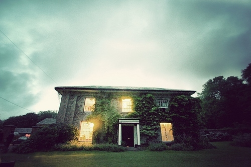 cottage, green, house, ivy, light, lights, new zealand, places, sky