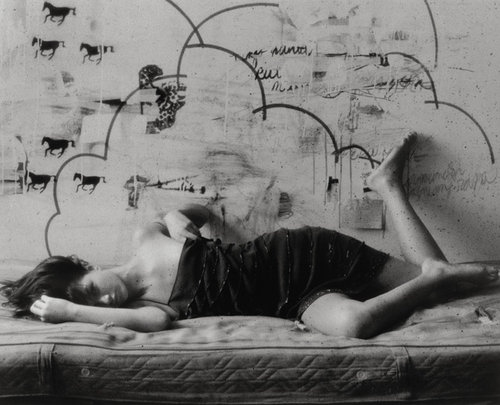 bed, black and white, girl, graffiti, mattress, wall