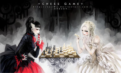 angels, arts, beatiful, cartoons, chess, chess of clever, devils, illustration girl, japan, queen, red, white