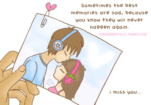 boy, cartoon, couple, girl, heart, love, memories, missin you, never, sad