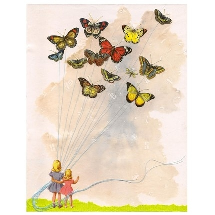 balloons, butterflies, children, collage, etsy, oiseaux noir